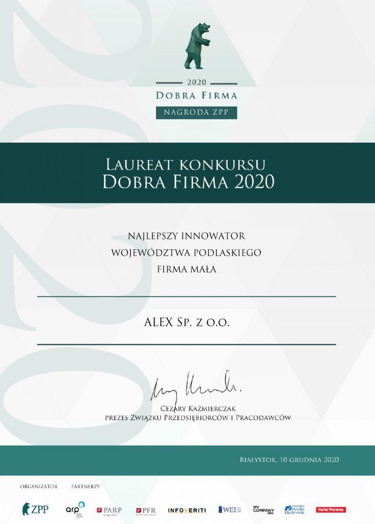 Certyfikat dobra Firma-ALEX