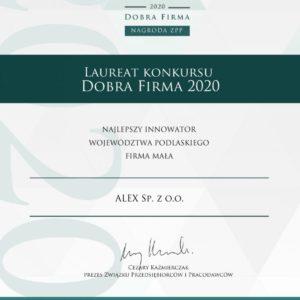 Certyfikat-dobra-Firma-ALEX-2020